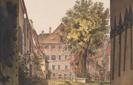 Burghof 1833, Zeichnung von Georg Christoph Wilder Germ. Nationalmuseum, HZ 4292, Kps. 1062 (Quelle:  Germ. Nationalmuseum)